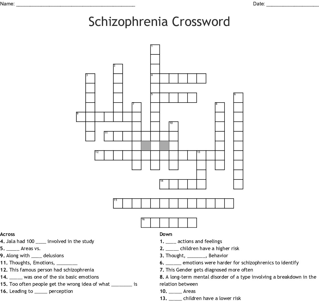 Schizophrenia Crossword Wordmint