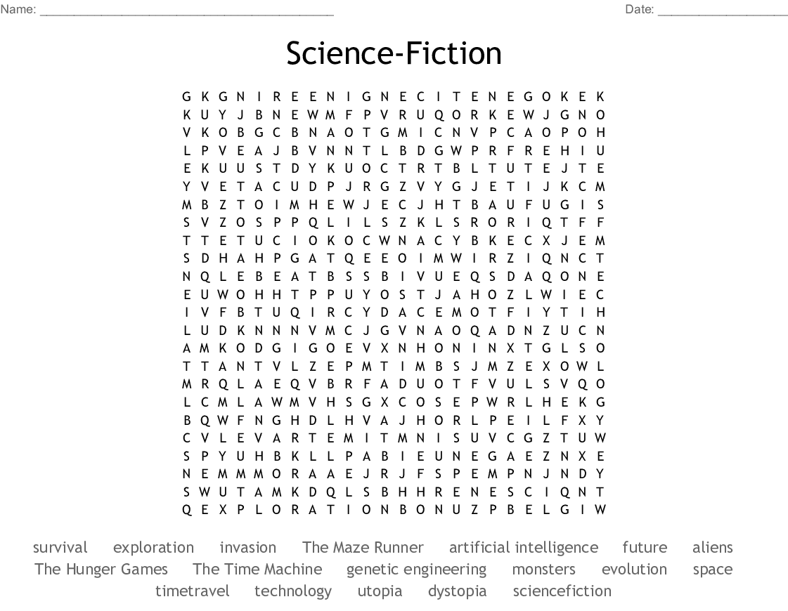 Science-Fiction Word Search - WordMint