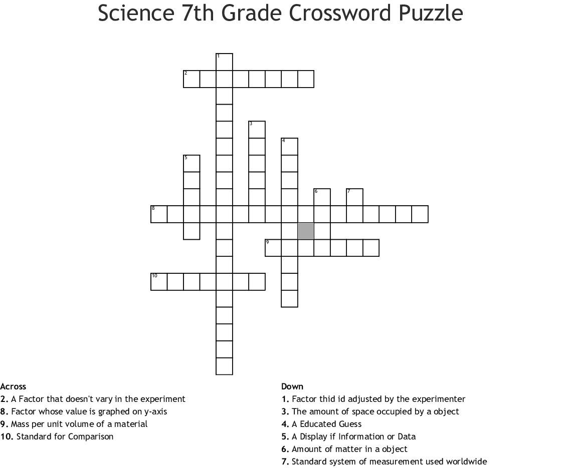 Science 7th Grade Crossword Puzzle - WordMint
