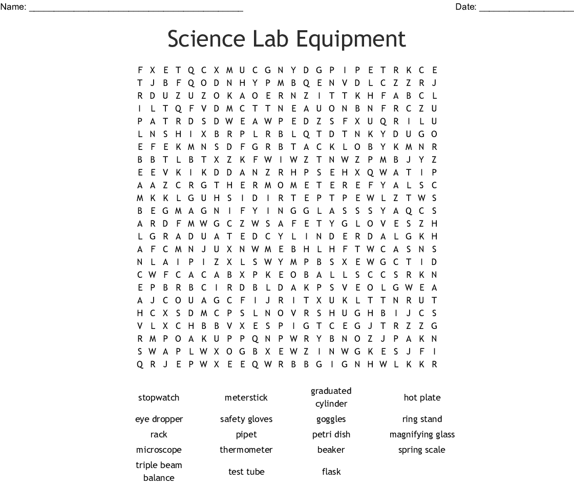 Science Lab Equipment Word Search - WordMint