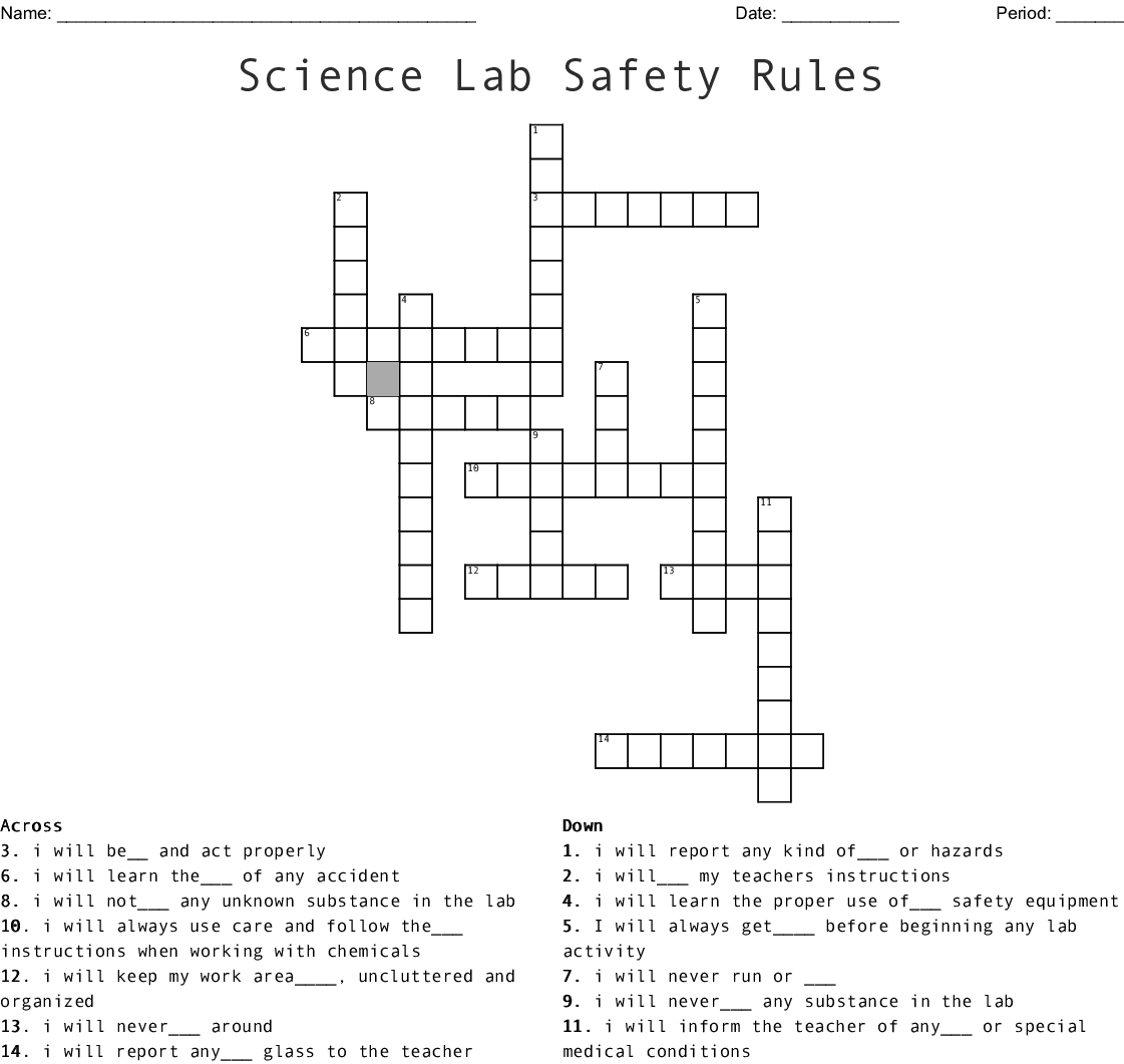Science Lab Safety Rules Word Search - WordMint