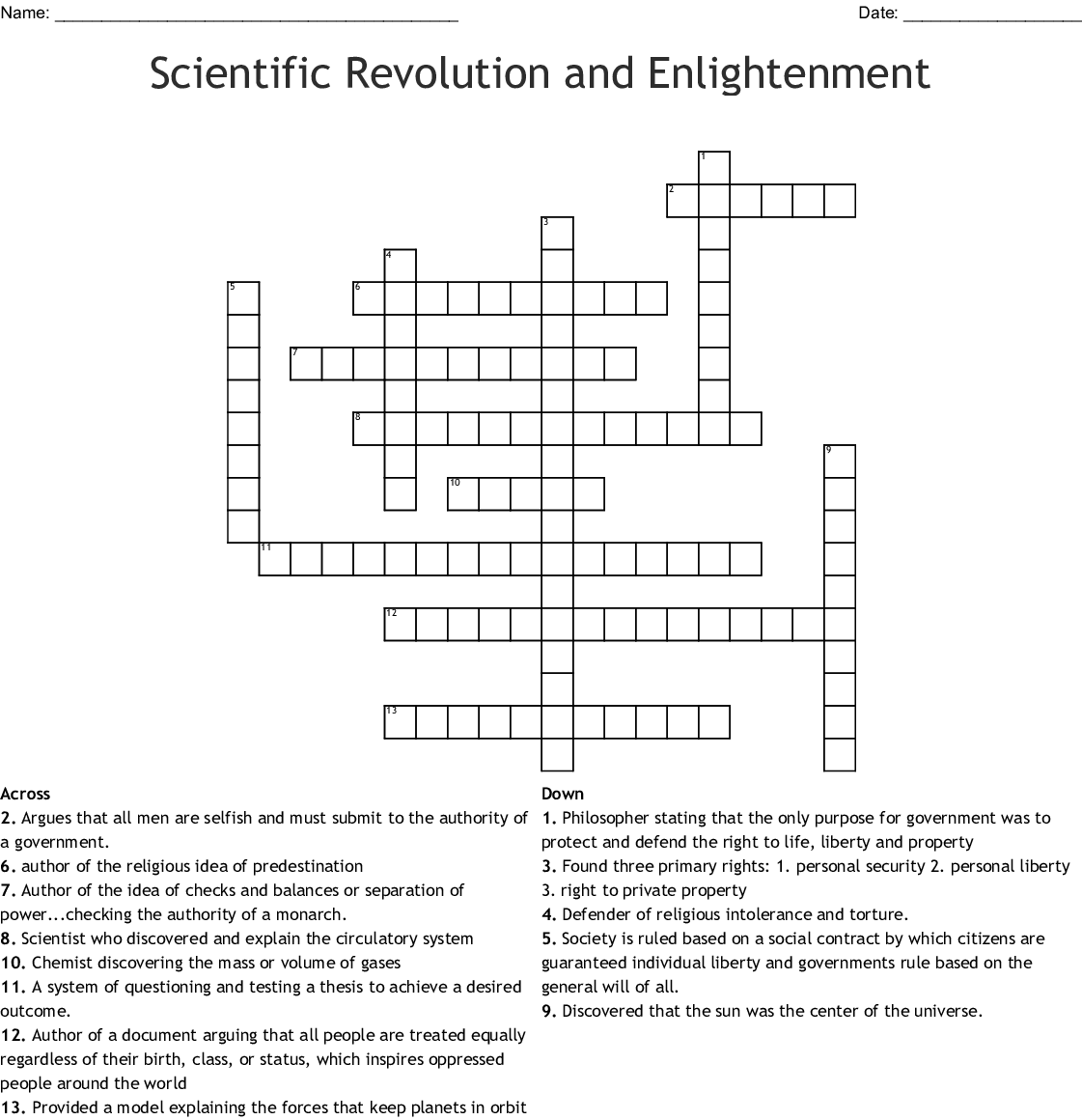 Scientific Revolution And Enlightenment Crossword Wordmint