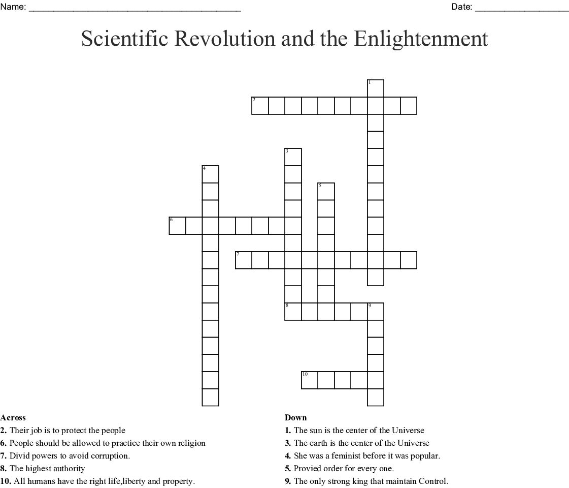 Scientific Revolution And The Enlightenment Crossword Wordmint