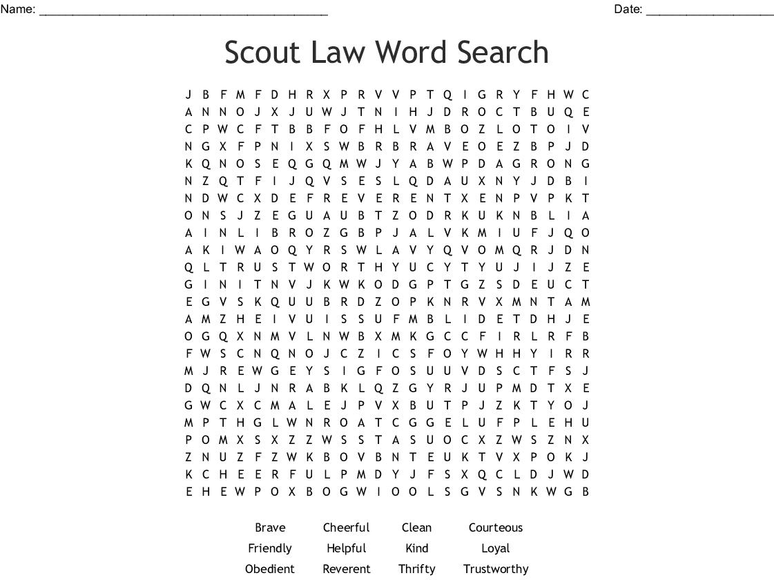 graphic relating to Boy Scout Law Printable identified as Boy Scout Legislation Phrase Look - WordMint