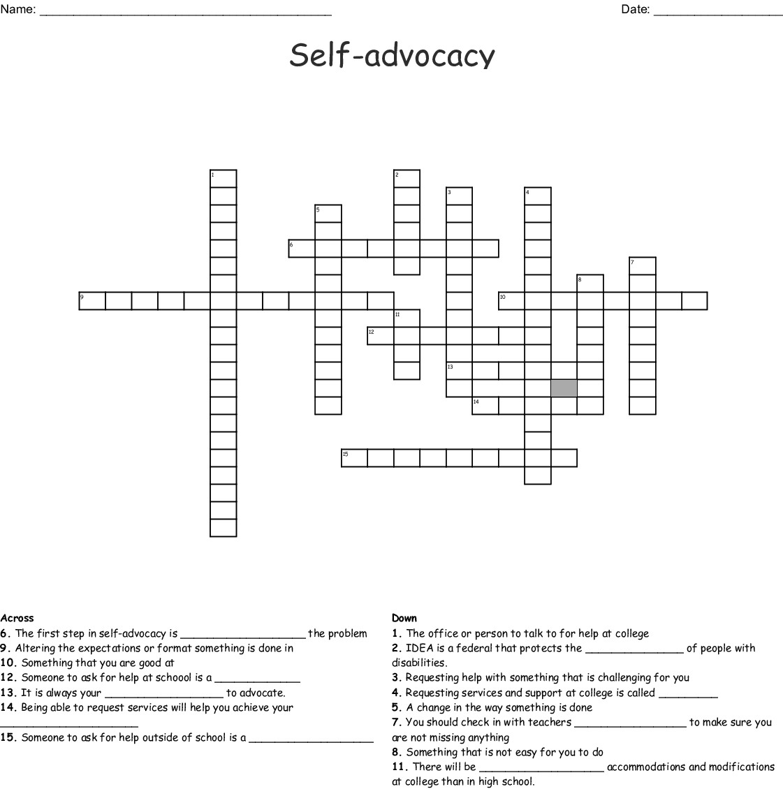 Self Advocacy Word Search - WordMint