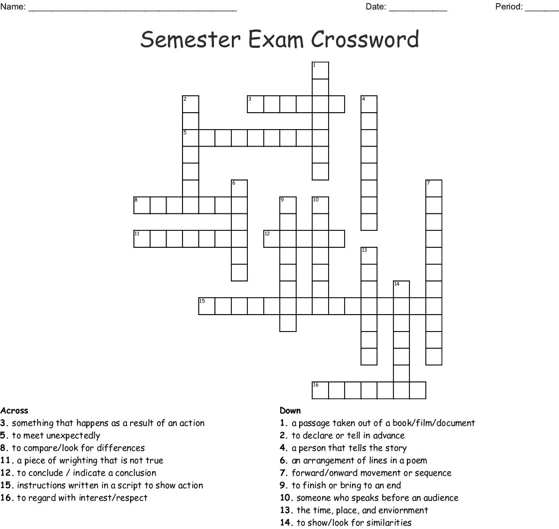 Semester Exam Crossword Wordmint