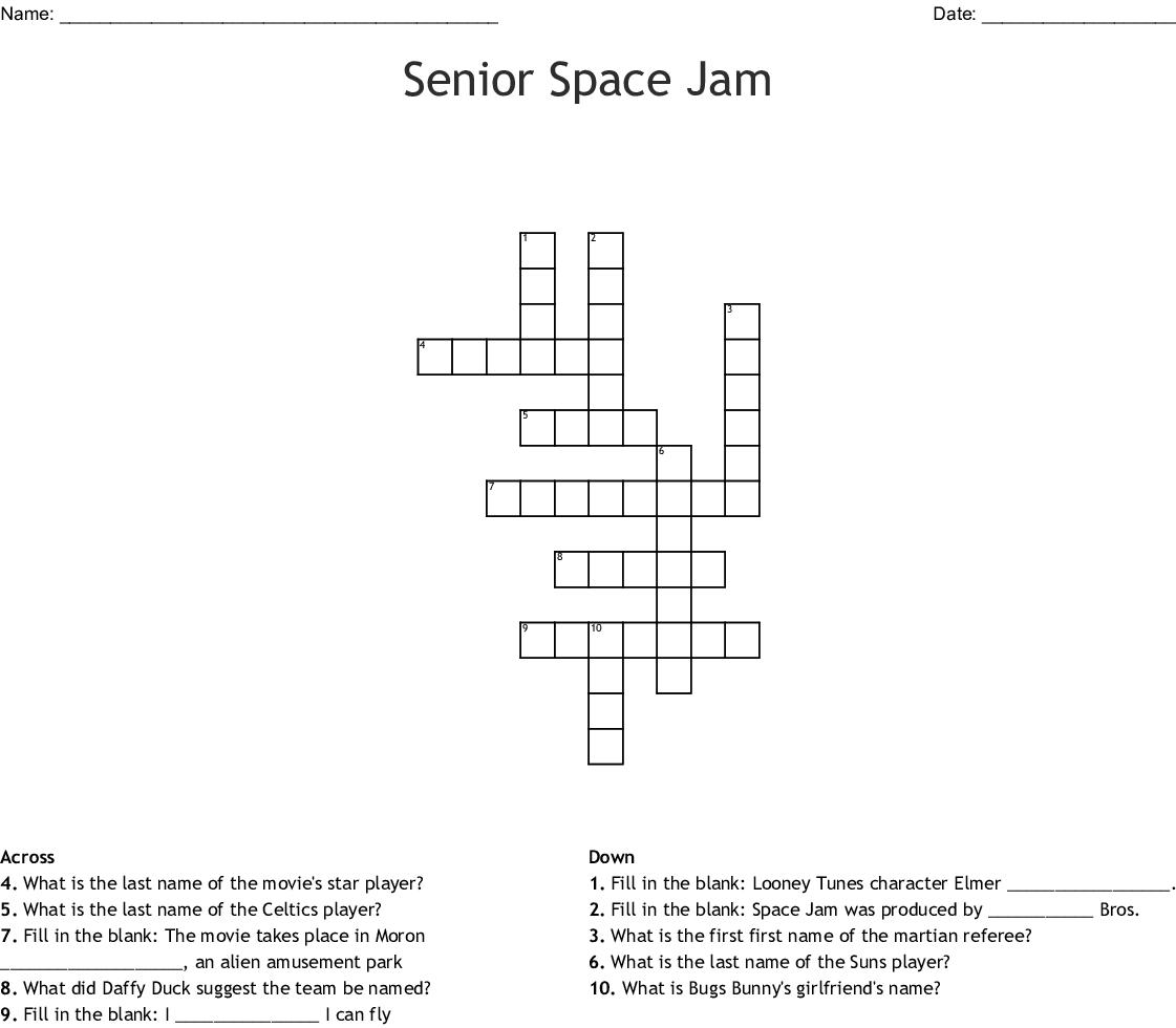 Senior Space Jam Crossword Wordmint
