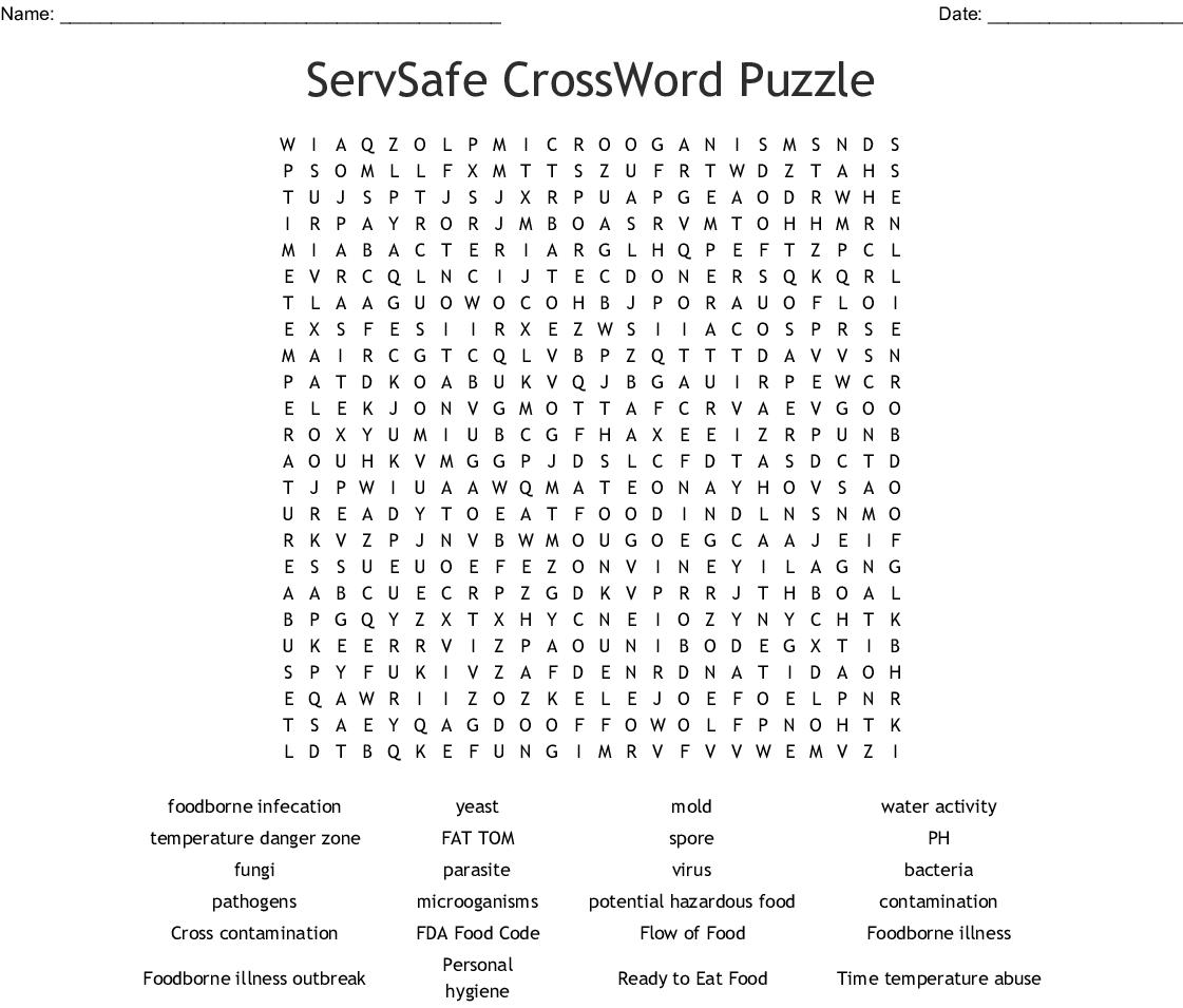 ServSafe CrossWord Puzzle Word Search - WordMint