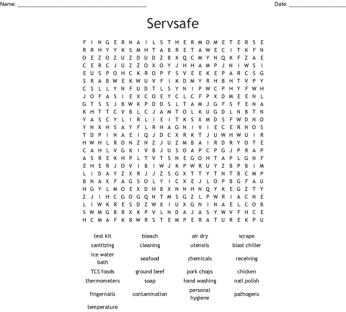 Servsafe Word Search - WordMint