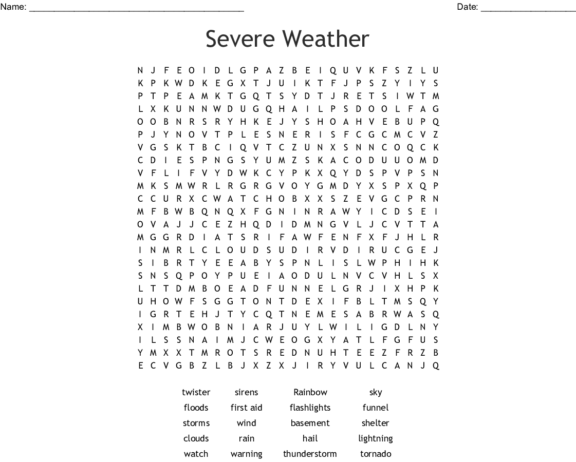 Severe Weather Word Search