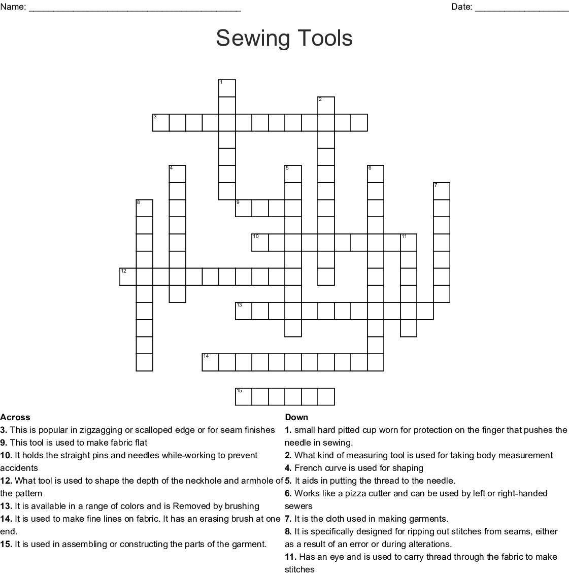 Sewing Tools Crossword Wordmint
