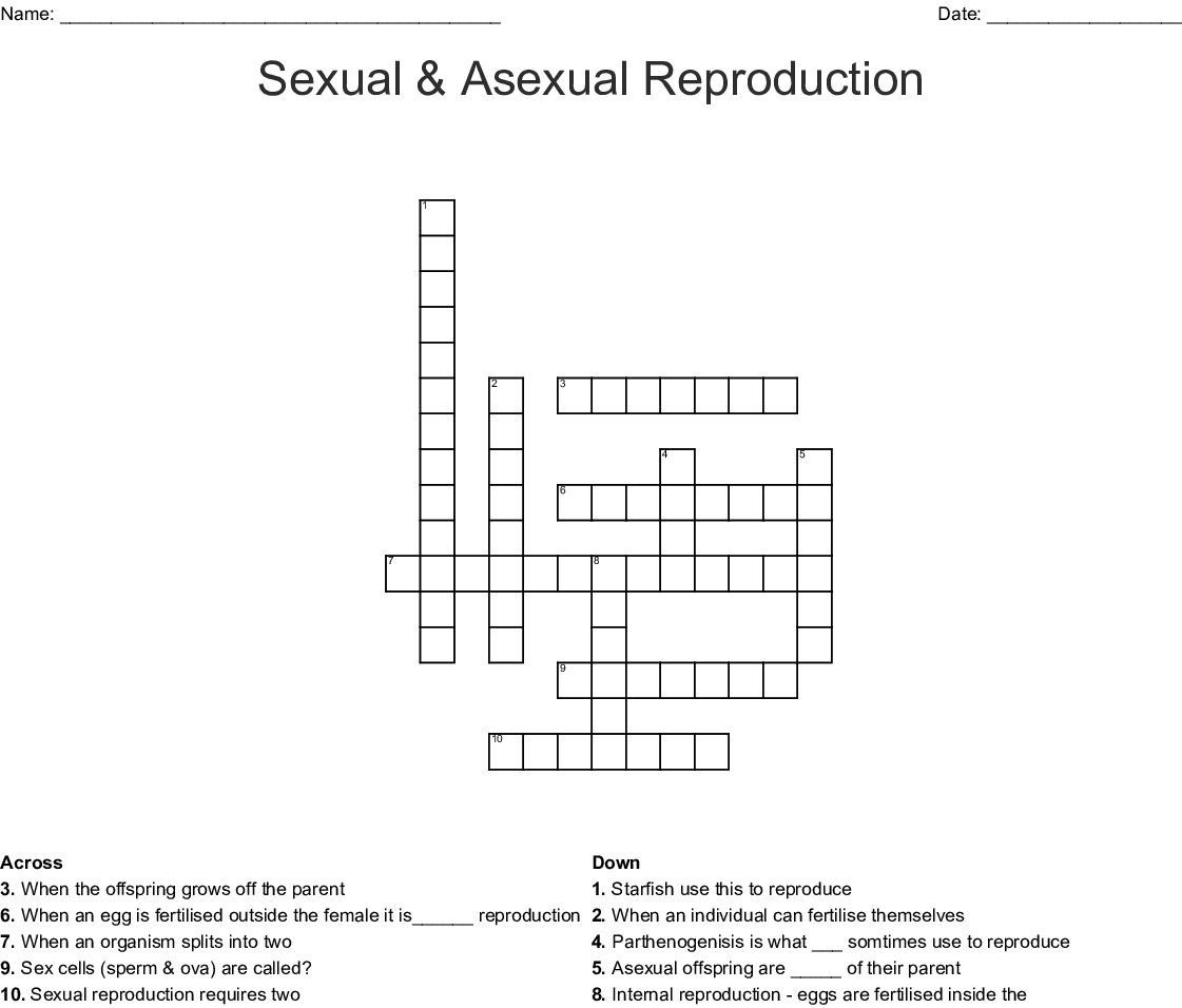 Asexual reproduction crossword clue