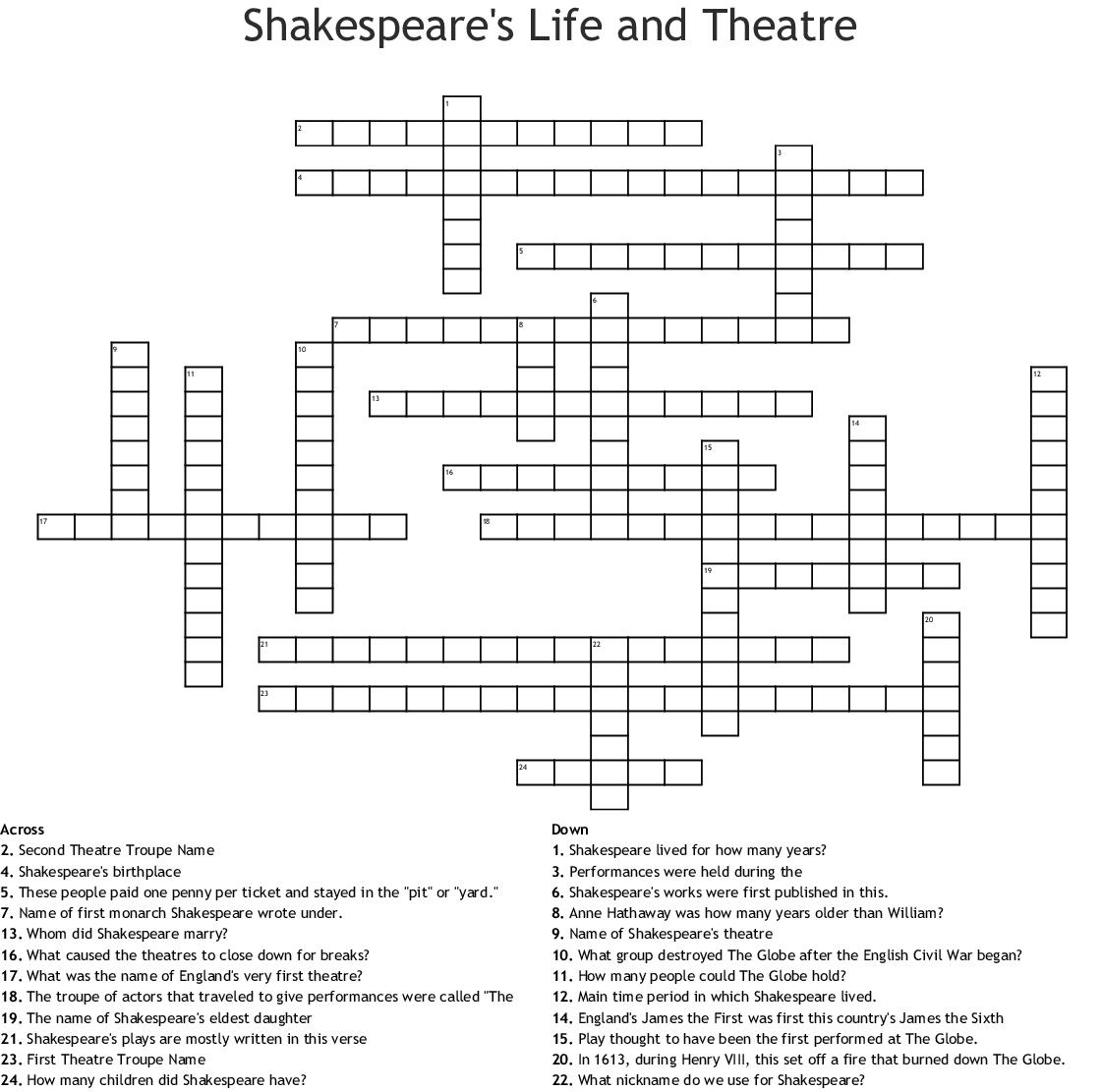 Shakespeare S Life And Theatre Crossword Wordmint