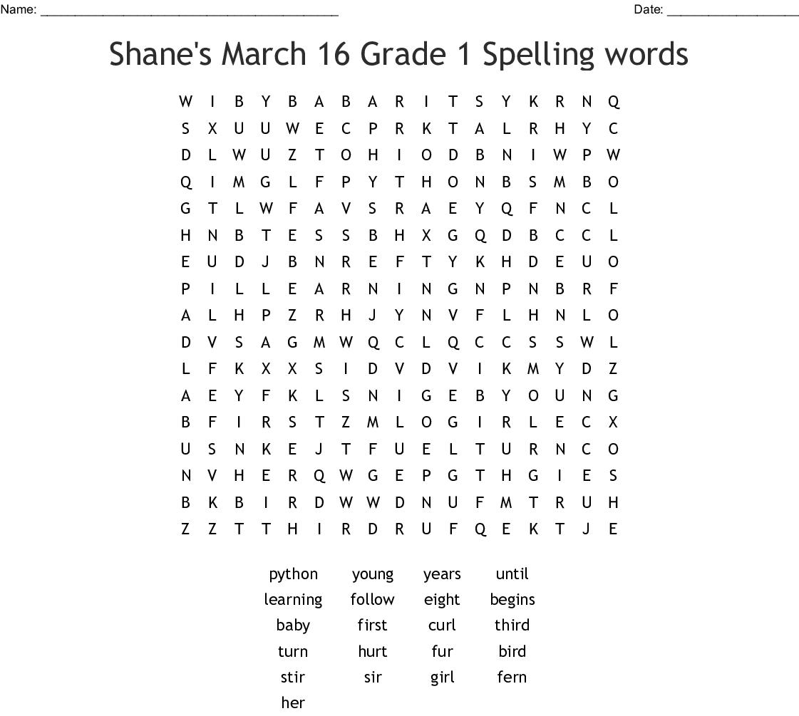 Spelling List Word Search - WordMint