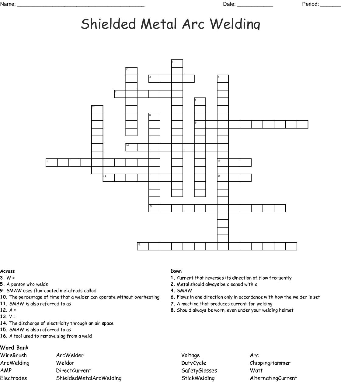 Shielded Metal Arc Welding Crossword Wordmint