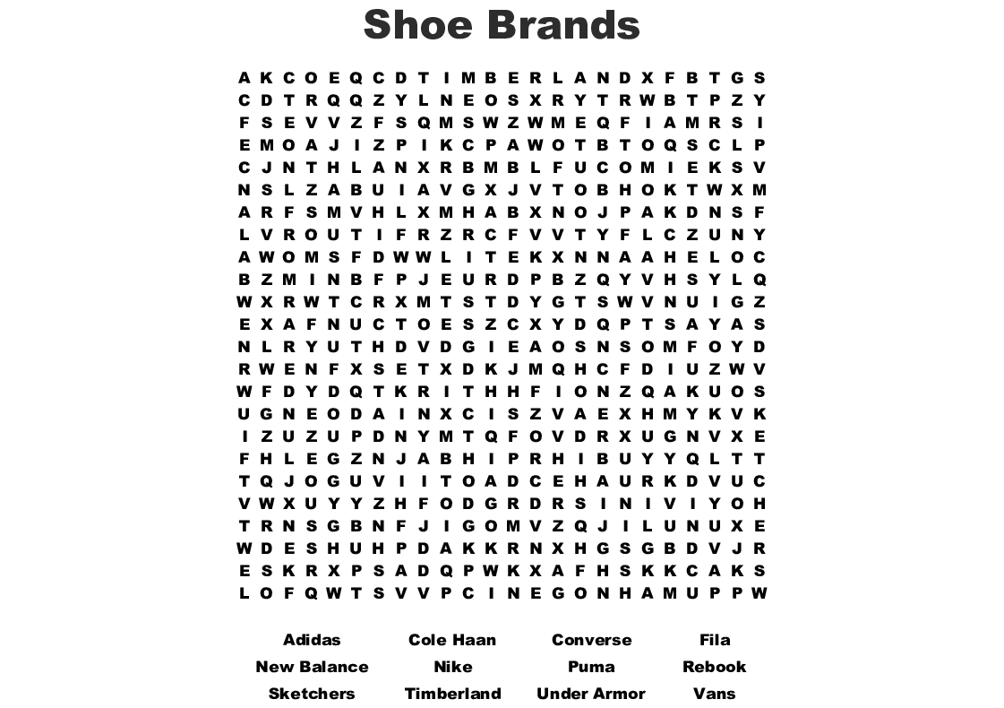 Shoe Brands Word Search - WordMint