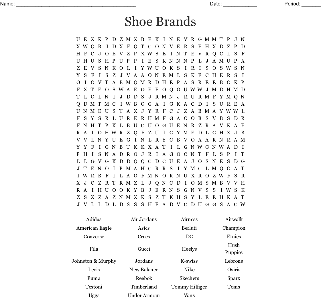 Shoe Words Word Search - WordMint