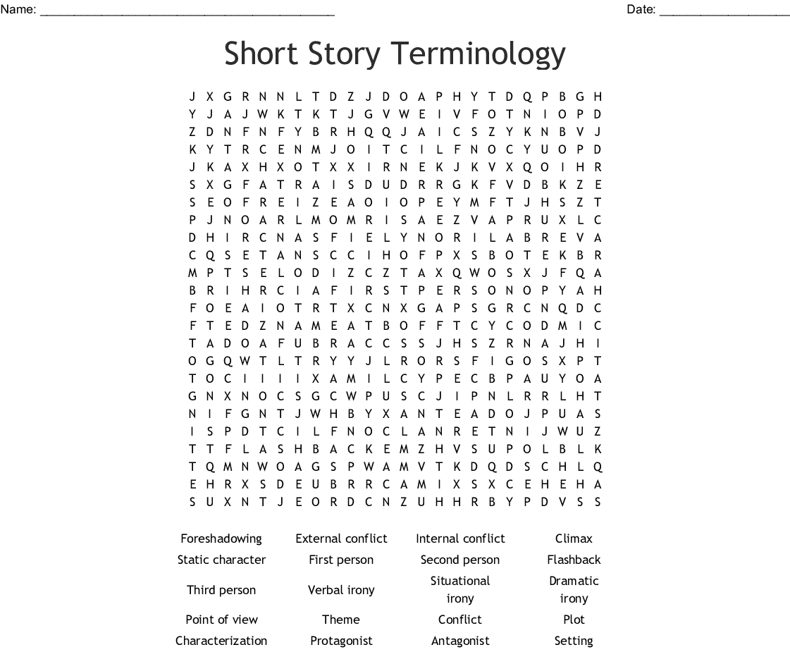 Short Story Terminology Word Search - WordMint