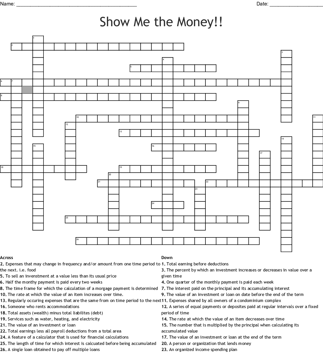 Show Me The Money Crossword Wordmint