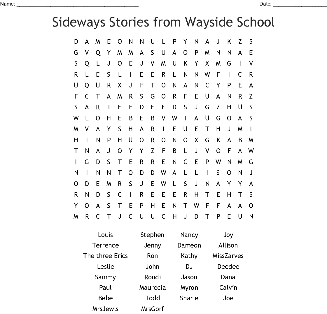 photograph regarding School Word Search Printable referred to as Sideways Reviews in opposition to Wayside Faculty Term Look - WordMint