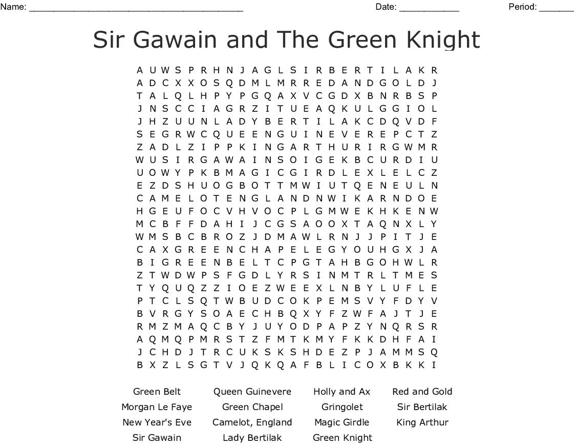 Sir Gawain Crossword Puzzle - WordMint