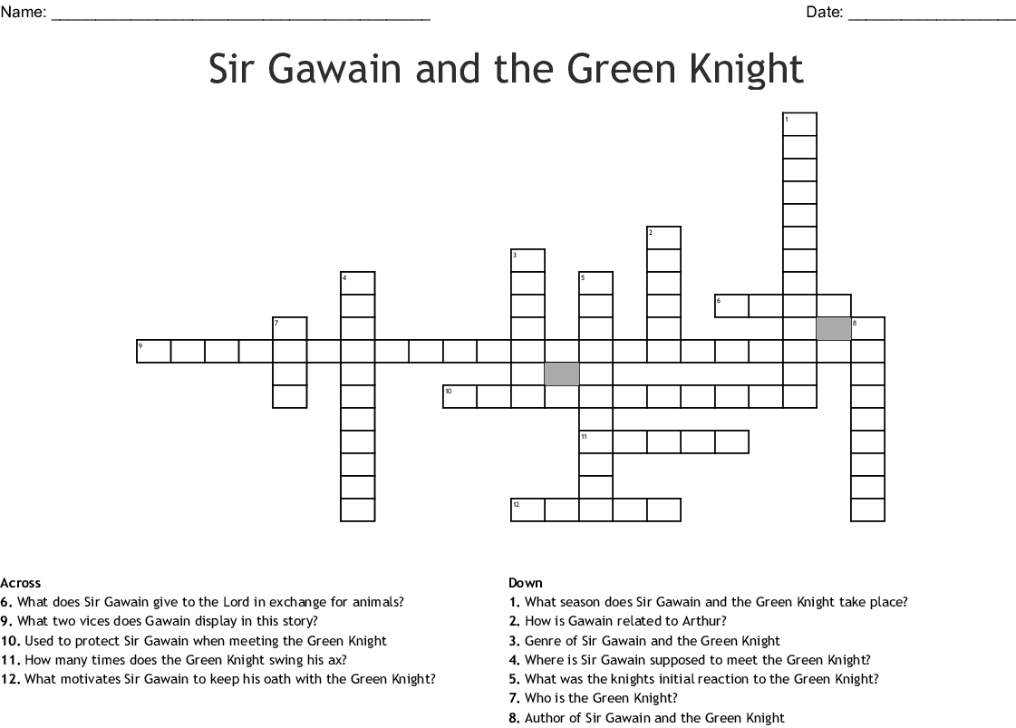 Round Table Knight Crossword Clue.Sir Gawain Crossword Puzzle Wordmint