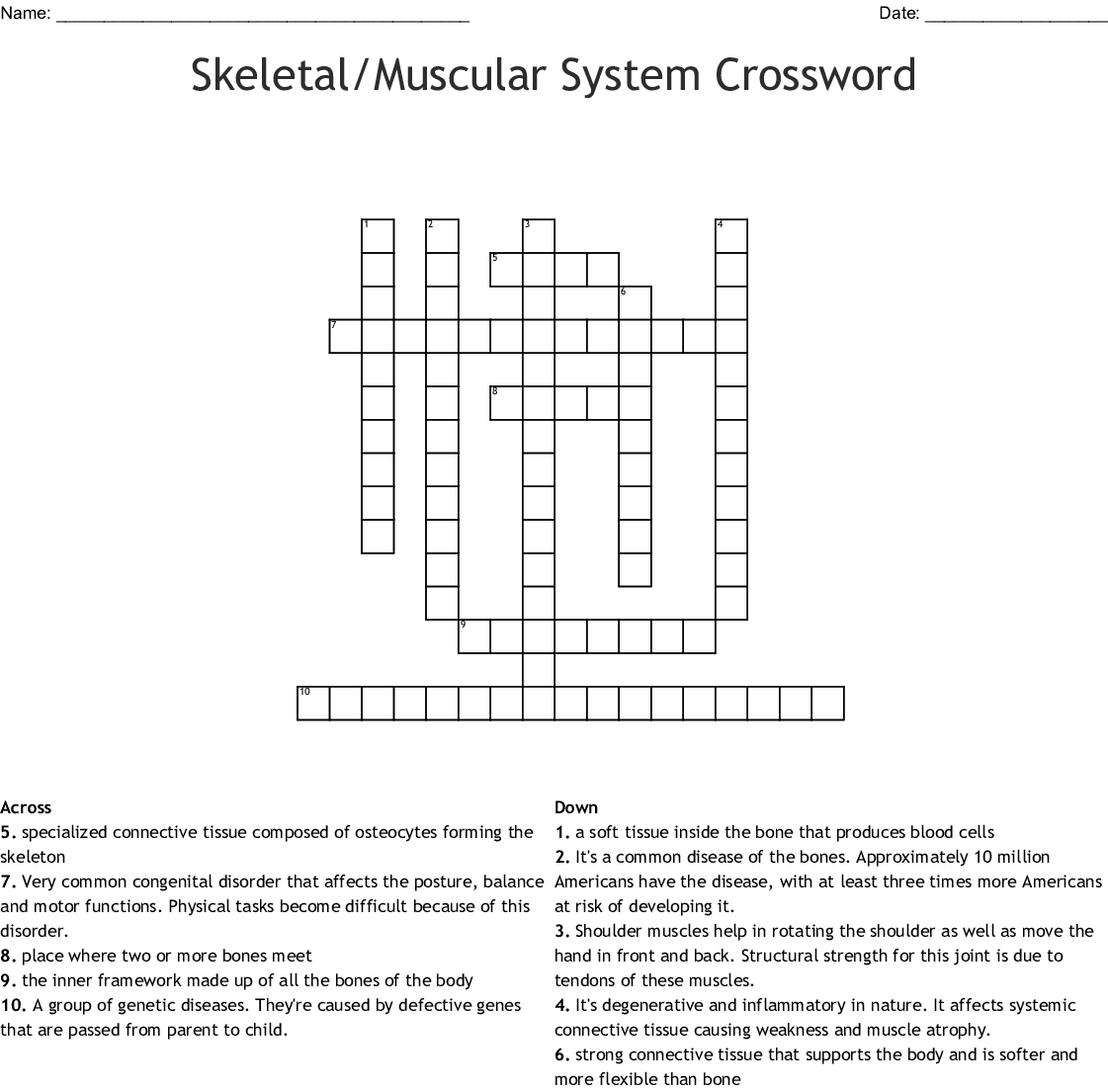 Integumentary, Skeletal and Muscular System Crossword ...
