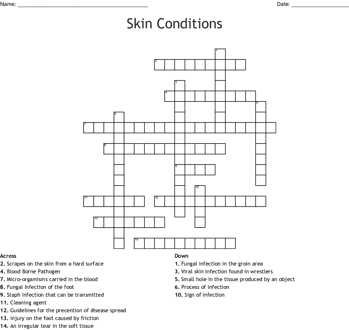 Skin Conditions Crossword Wordmint