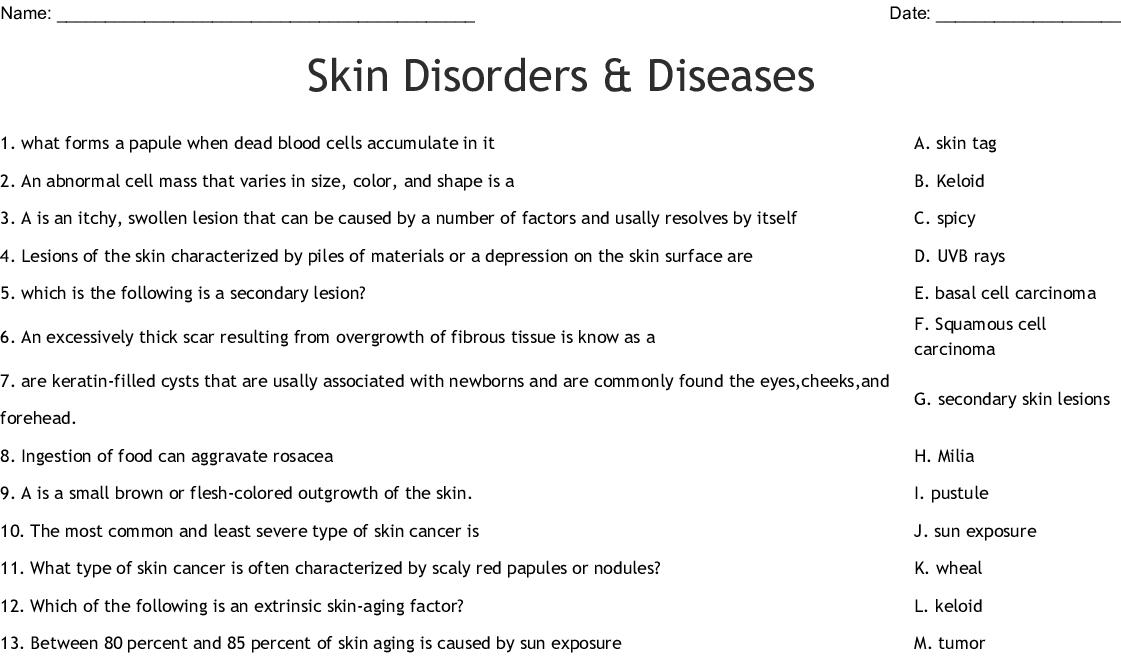 Skin Conditions And Descriptions Crossword Wordmint