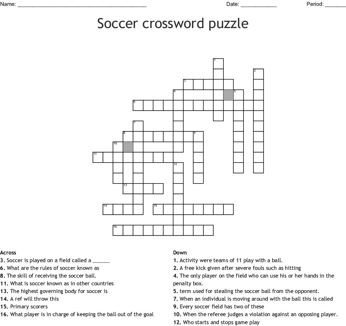 Soccer Crossword Puzzle Wordmint
