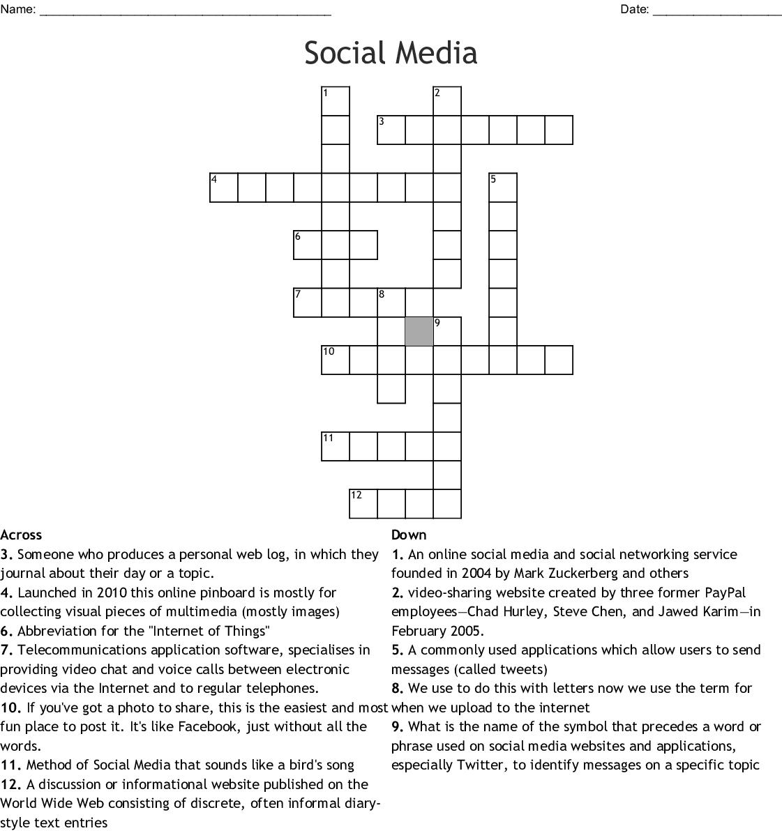 Social Media Crossword - WordMint