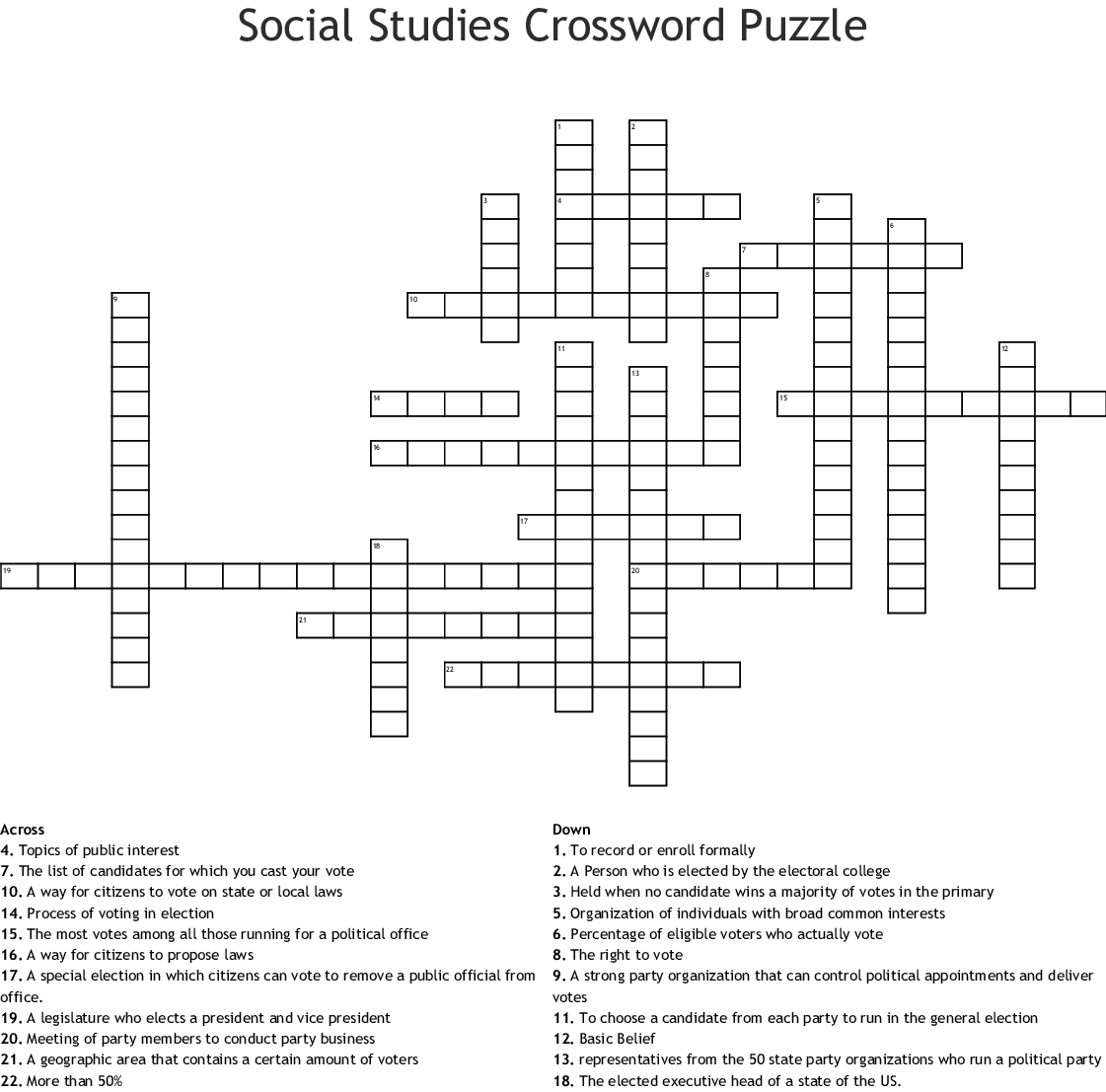 Elections And Voting Crossword Wordmint