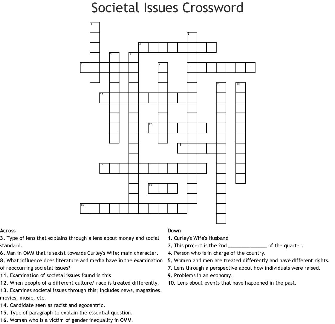 Societal Issues Crossword Wordmint