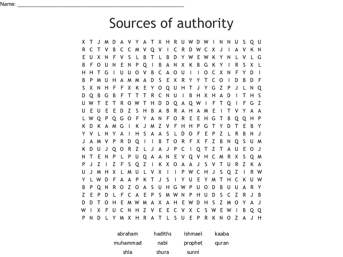 Sources of authority Word Search - WordMint