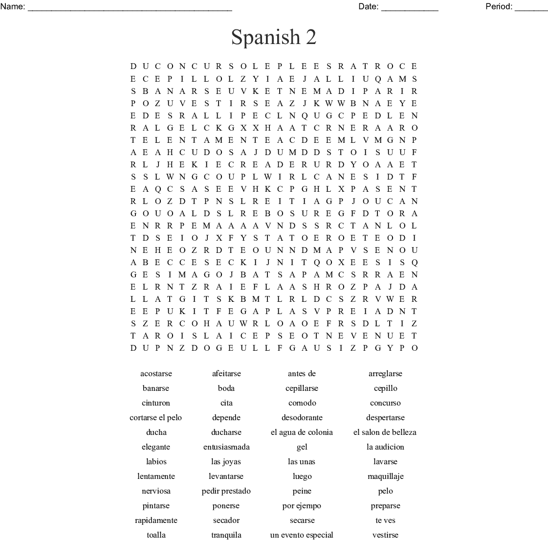 Spanish 2 Word Search - WordMint