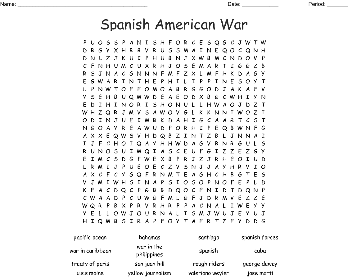Spanish American War Word Search - WordMint