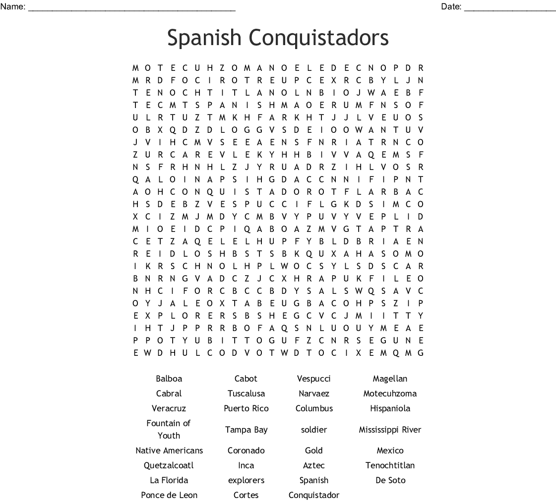 graphic about Printable Spanish Word Search Answers referred to as Spanish Conquistadors Term Glimpse - WordMint