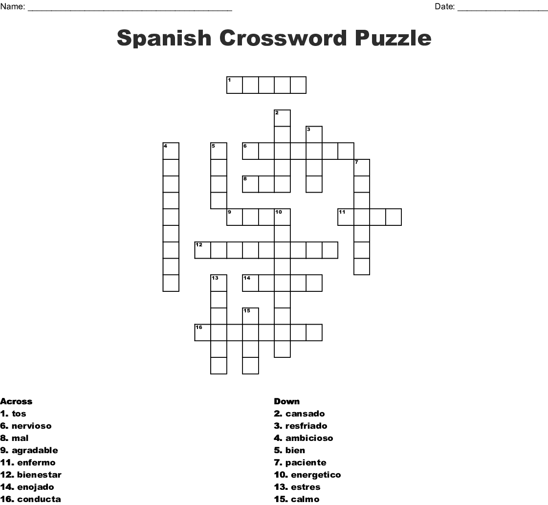 It's just a graphic of Printable Spanish Crossword Puzzle throughout word search