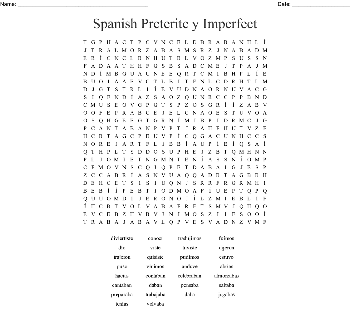 Spanish Preterite y Imperfect Word Search - WordMint