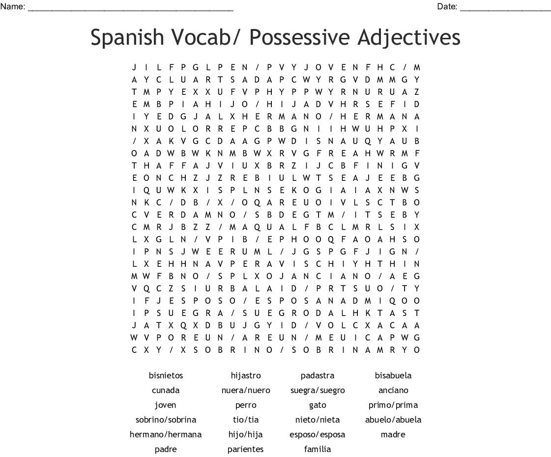 Spanish Vocab/ Possessive Adjectives Word Search - WordMint