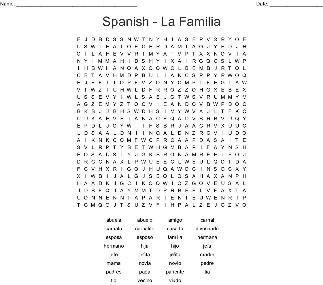 Spanish - La Familia Word Search - WordMint