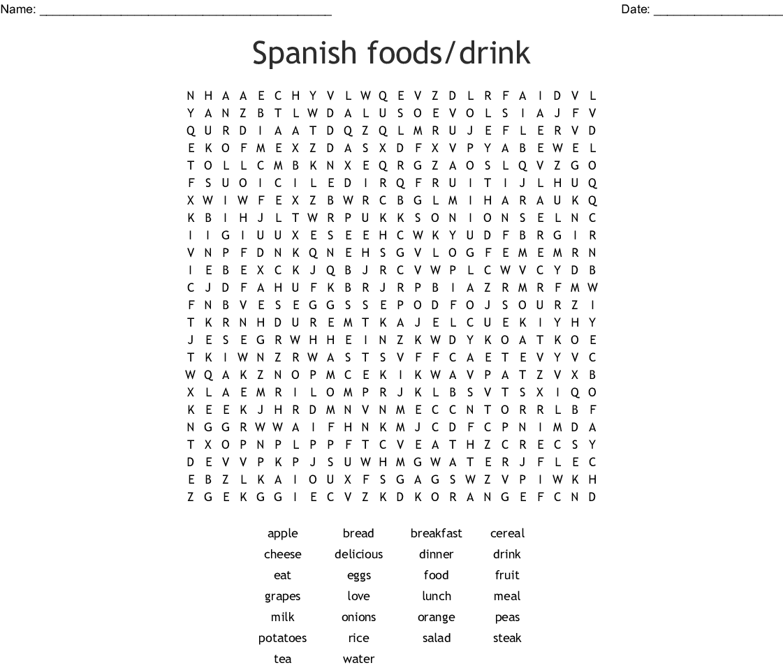 Spanish foods/drink Word Search - WordMint