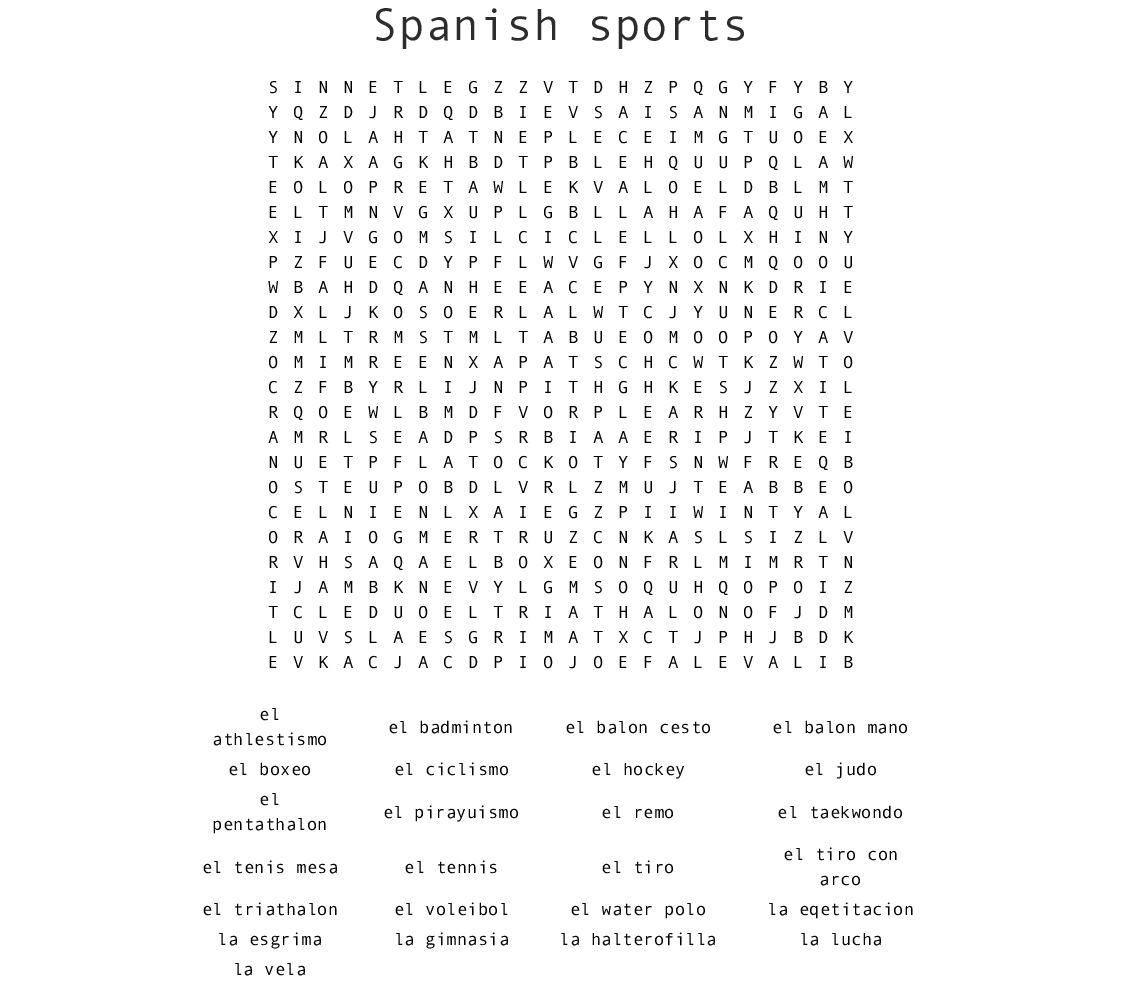 graphic relating to Sports Word Search Printable referred to as Spanish athletics Phrase Appear - WordMint