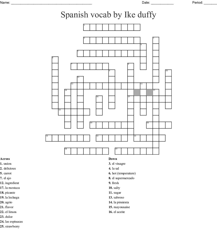 Unidad 5 / Lección 1 Crossword - WordMint