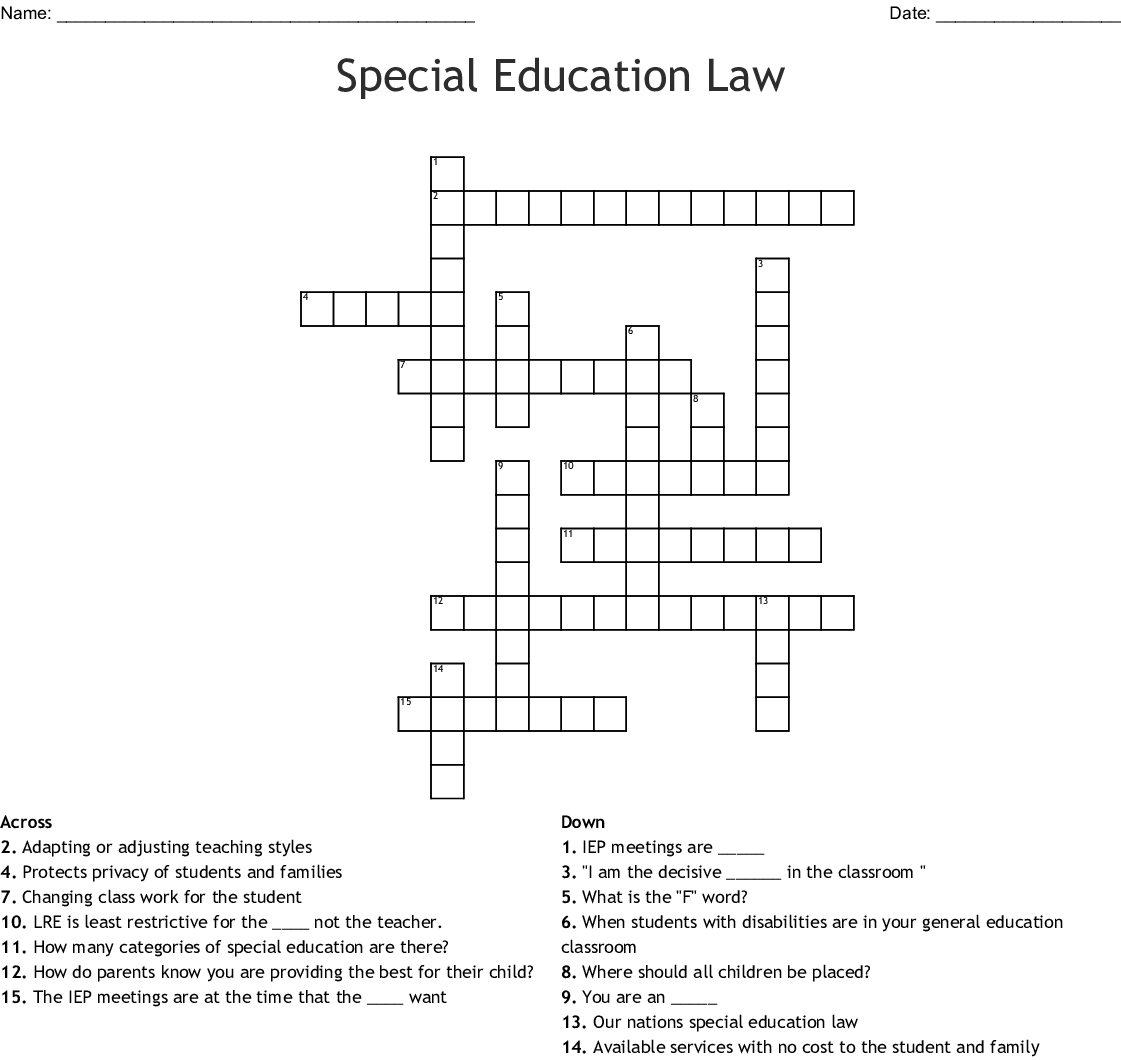 Special Education Law Crossword Wordmint