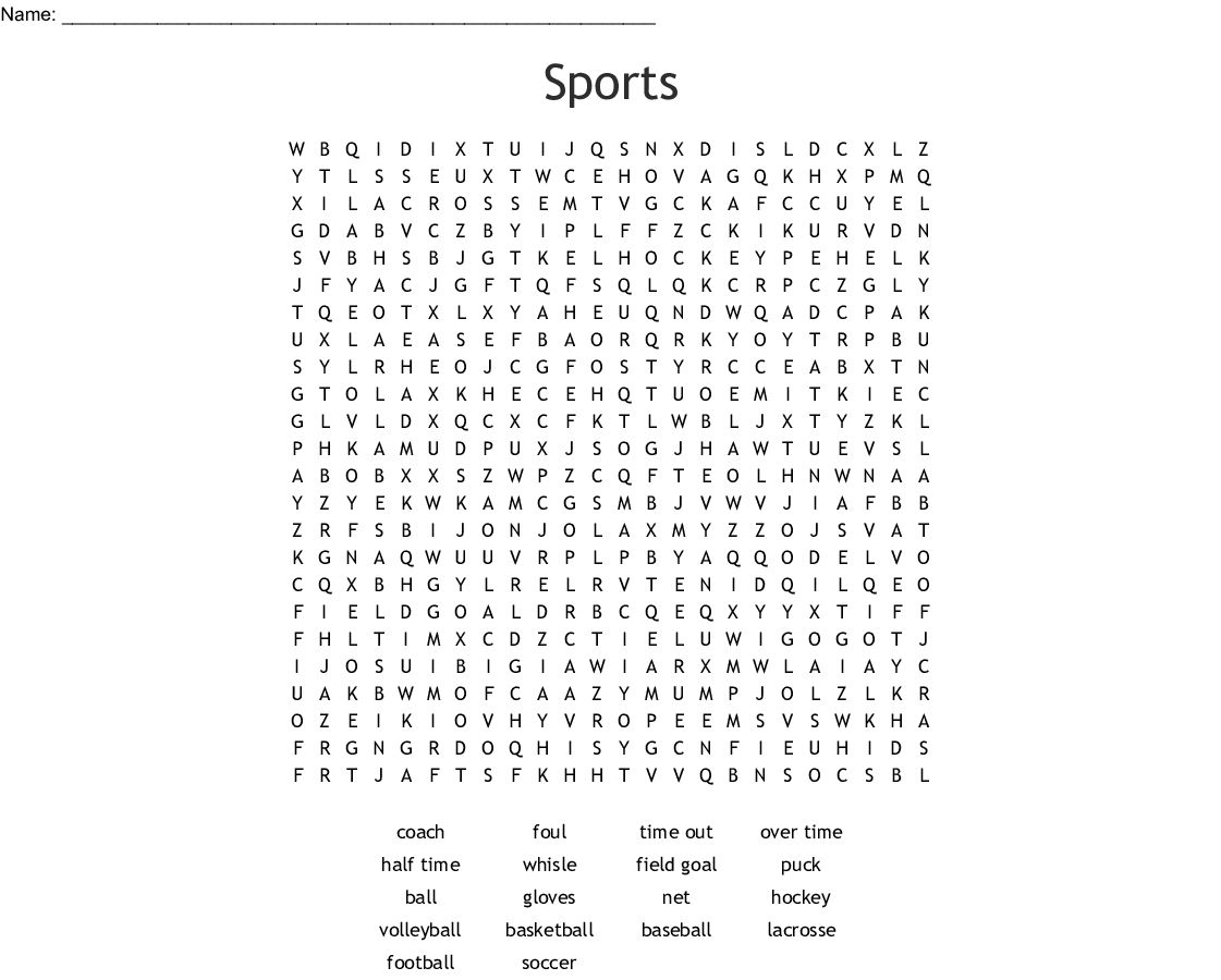Sports Word Search - WordMint
