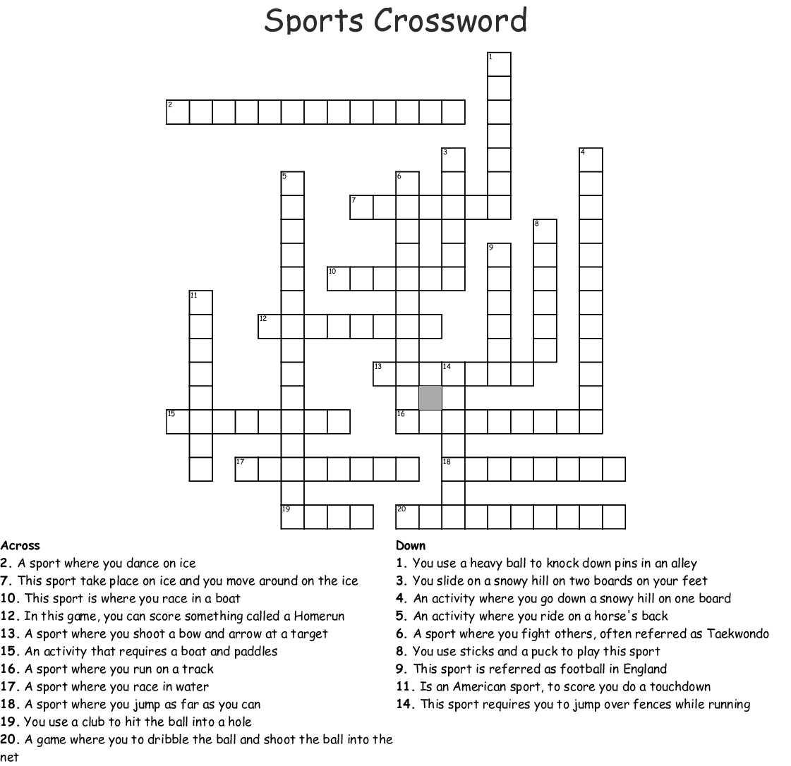 picture about Sports Crossword Puzzles Printable called Sporting activities Crossword - WordMint