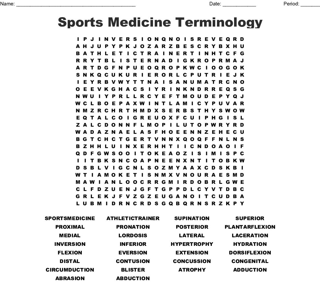 Sports Medicine Terminology Word Search Wordmint
