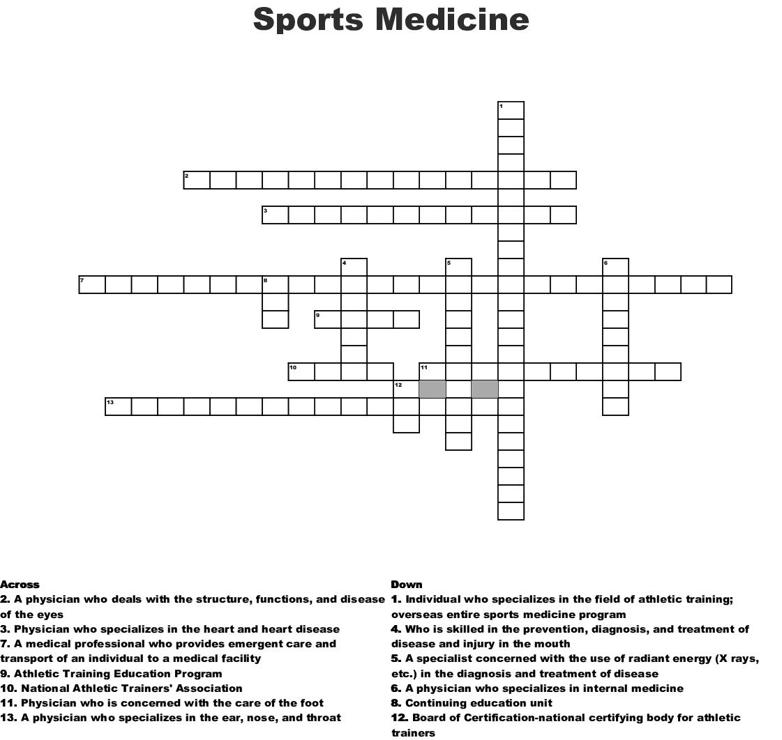 Sports Medicine Crossword - WordMint