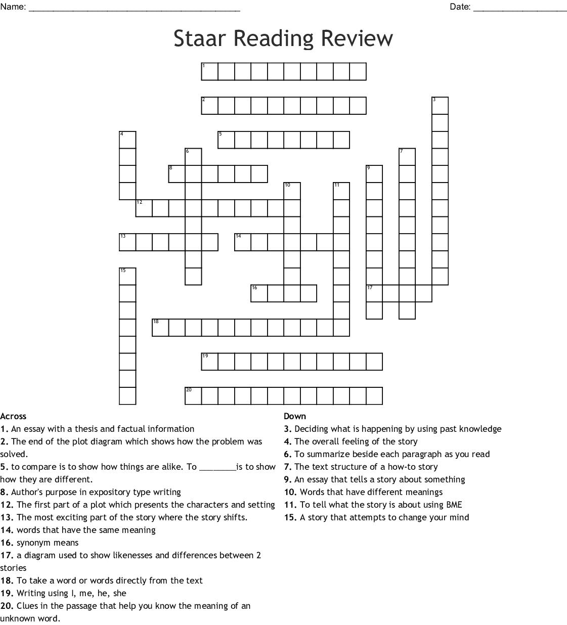Informational Text Vocabulary Crossword   WordMint